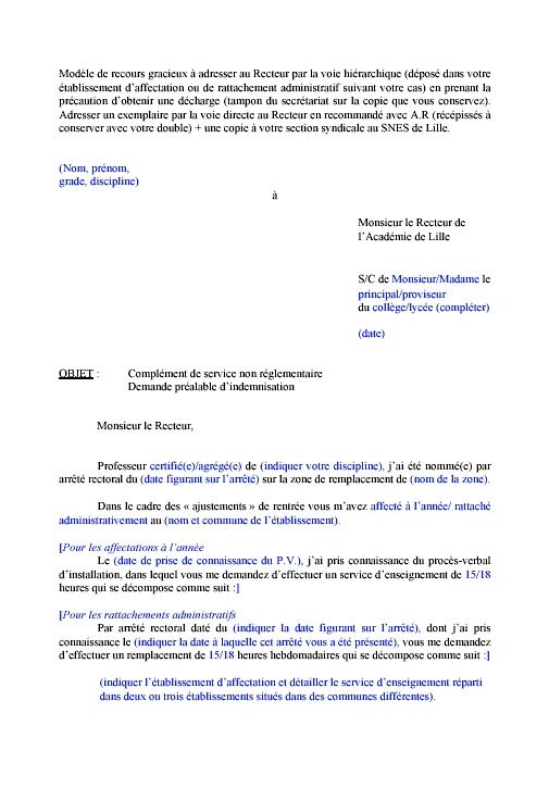 modele lettre administrative interne