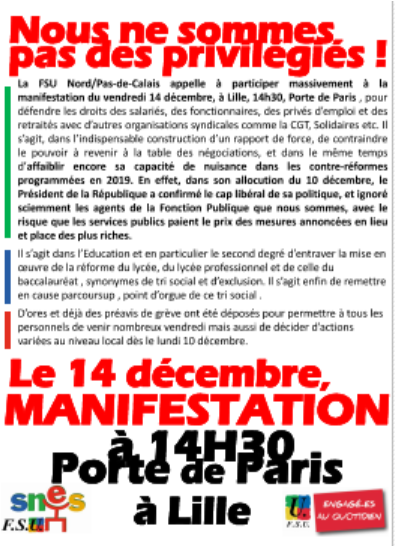 MANIFESTATIONS DU VENDREDI 14 DECEMBRE
